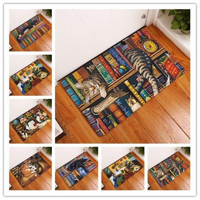 Flannel Floor Mats  Cat And Cat    Printed Bedroom Living Room Carpets Cartoon Bear Pattern Mat for Hallway Anti-Slip Tapete