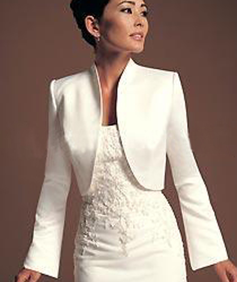 buy wejanedress elegant ivory satin full sleeves shawl bolero jacket for. Black Bedroom Furniture Sets. Home Design Ideas