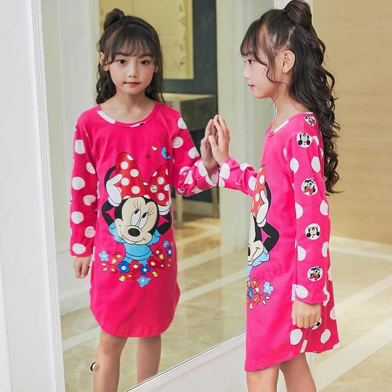 5ab797f593e68ca Распродажа Одежда высшего качества с рисунком девочки ночные рубашки с  длинным рукавом Детские пижамы Ночная сорочка