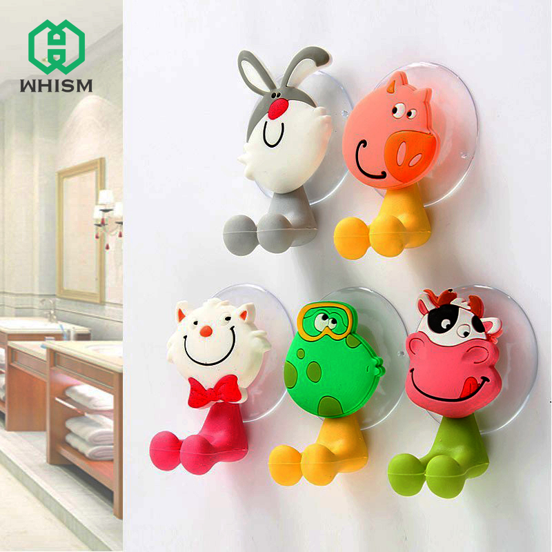 WHISM Bathroom Funny Cartoon Toothbrush Holder Rack Wall Mount  Suction Cup Toothbrush Storage Stand Bathroom Accessories stainless steel metal cup display rack cup potting plant holder showing desktop stand cup holder rack furniture accessories