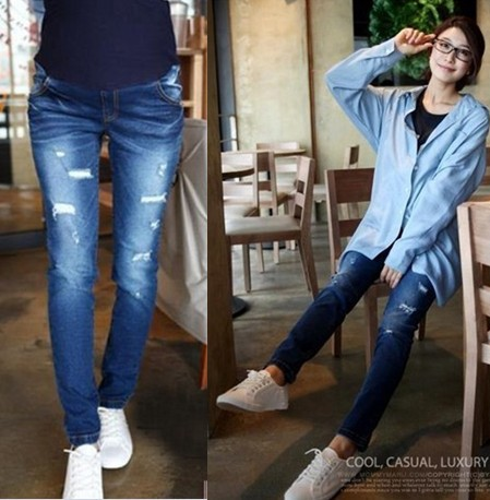 2015 New Fashion women maternity jeans/pants/trousers with holes ...