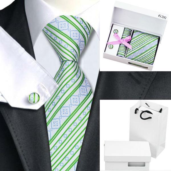Homens Gravata Verde Listra Branca De Seda Laços Para Homens Abotoaduras Lenço Caixa de Presente Conjunto Saco de Presentes da Festa de Casamento de Negócios B-630