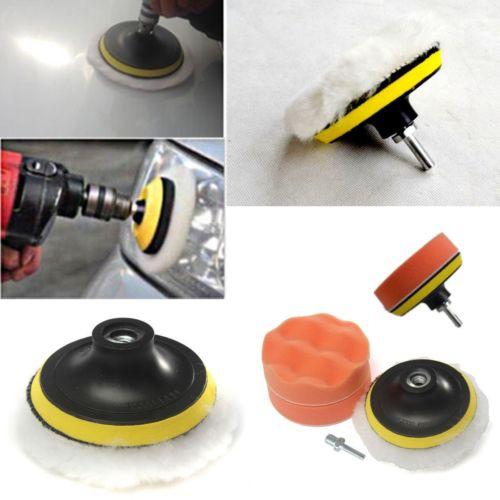"""Fixmee 5Pcs 4 """"Juego de almohadillas de pulido y amortiguación de alto grosor + Adaptador de taladro M10 para pulidora de automóviles"""