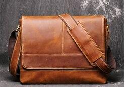 Vintage Männer Crazy Horse Echtes Leder Aktentasche Laptop Business Tasche Hohe Kapazität Student Rindsleder Schulter Taschen Bolso D838