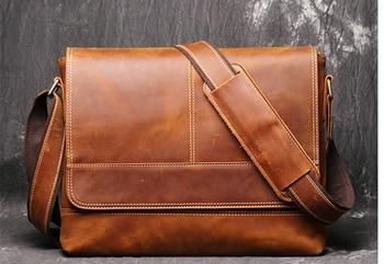 цены Vintage Men Crazy Horse Genuine Leather Briefcase Laptop Business Bag High Capacity Student Cowhide Shoulder Bags Bolso D838