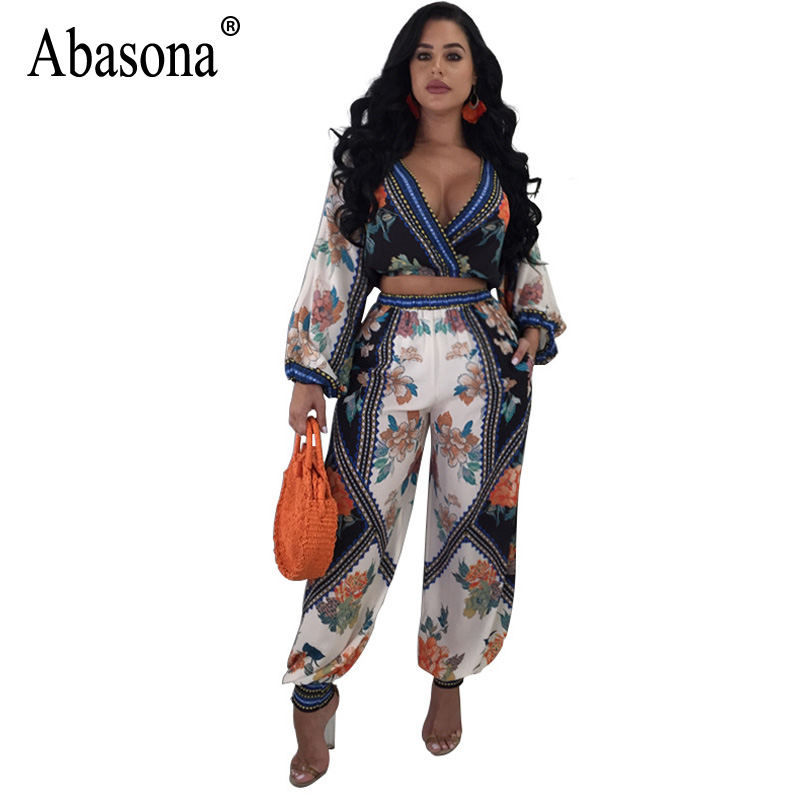 Abasona 2018 Floral Printed Rompers Women Jumpsuit Sexy Deep V-Neck Long Sleeve Wide Leg Jumpsuit Summer Casual Bohemian Overall