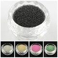 50g 0.6 ~ 0.8mm Translucidez DIY 3D Decoración Del Arte Del Clavo Mini Pequeño de Vidrio Pequeñas Gotas, Tiny Caviar Perlas de Uñas, Amarillo negro Blanco