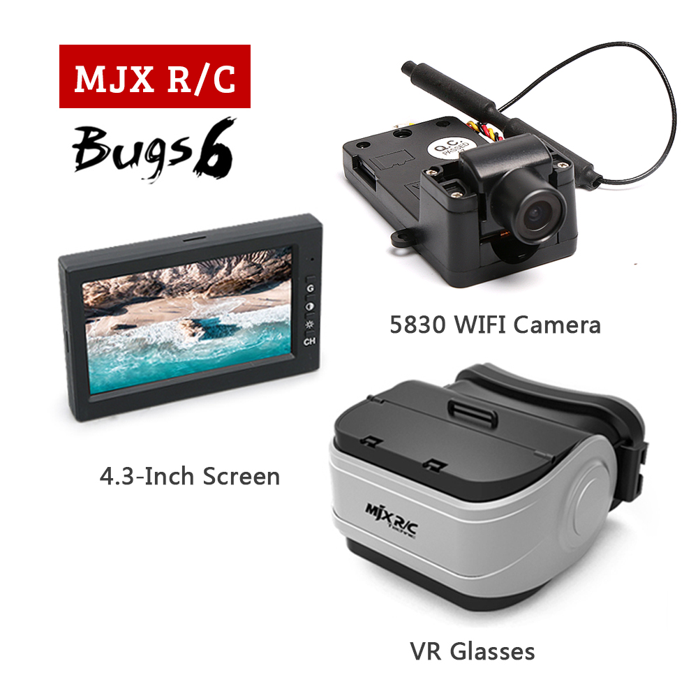 MJX Bugs 6 & B6 RC Drone Spare Parts with 5.8G C5830 FPV Camera,2.4-inch Display,VR Glasses For MJX RC Quadcopter Accessories in stock mjx bugs 6 brushless c5830 camera 3d roll outdoor toy fpv racing drone black kids toys rtf rc quadcopter
