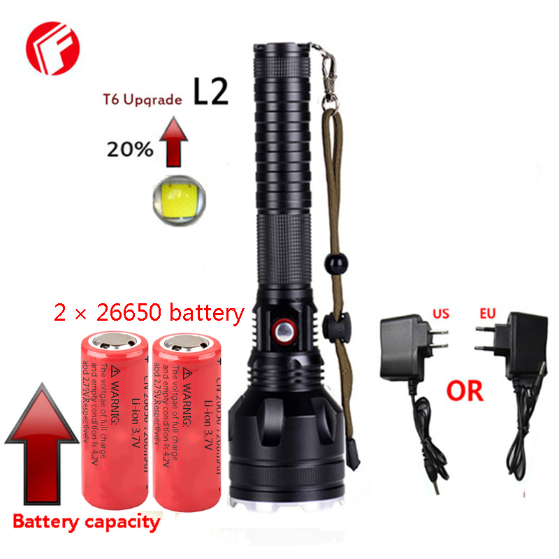Led flashlight rechargeable 26650 or 18650 battery cree xm l2 light Super T6 Outdoor hunting adventure