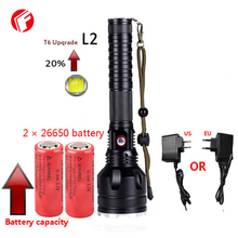 Led flashlight rechargeable 26650 or 18650 battery cree xm-l2 light Super T6 Outdoor hunting adventure patrol powerful flashligh