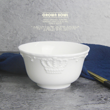 European Style Royal White Crown Emboss Ceramic Bowl Porcelain Rice Noodle Soup Salad Bowl Tableware Dinnerware Home Decoration