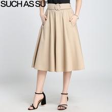 SUCH AS SU 2017 Summer Autumn Knit A-Line Skirts For Women Black Khaki Brown Pleated Skirt Elastic Waist Female Mid Long Skirt