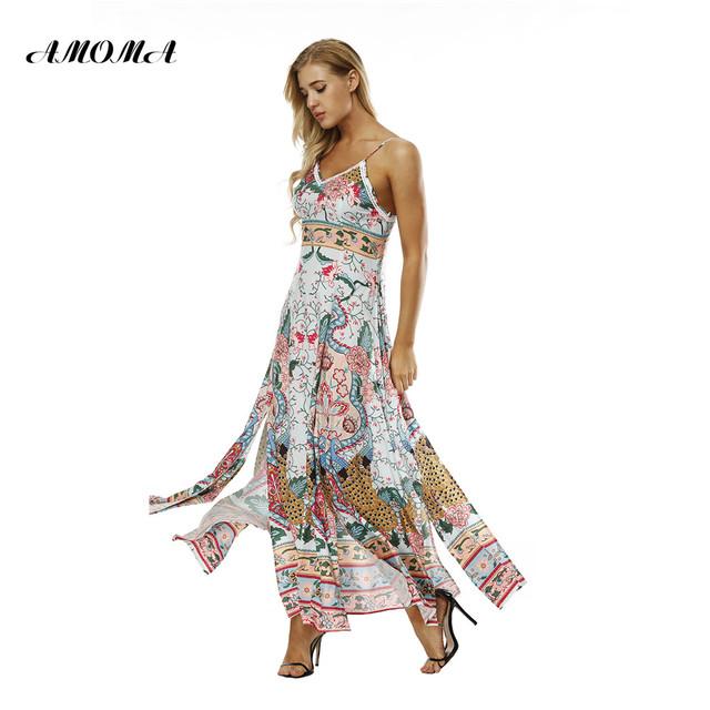 AMOMA Floral Print Summer Long Dress Sleeveless Spaghetti Strap Split Backless Beach Maxi Dresses Bohemian Vestidos