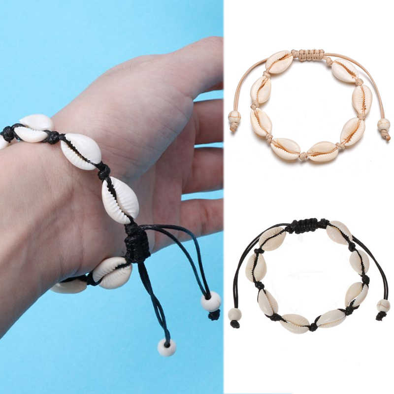 New fashion natural shell hand-woven adjustable bracelet gold bohemian shell beaded bracelet lady clothing accessories boutique