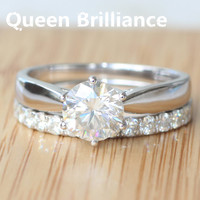 Solid 585 14K White Gold Luxury Quality 1 45 Carat Ct Forever Brilliant Moissanite Engagement Wedding
