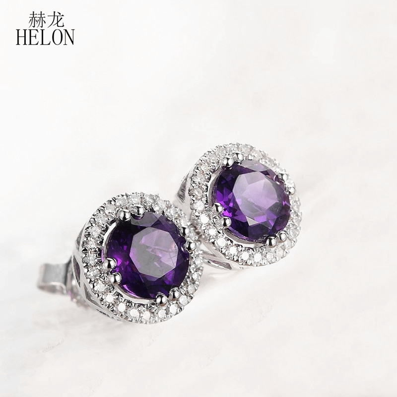 HELON Solid 14K White Gold Round Cut 6mm 1.6ct Amethyst Halo Diamonds Stud Earrings Engagement Wedding Party earrings for women