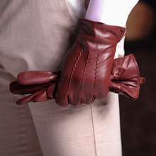 Harssidanzar Mens Classic Luxury Italian Sheepskin Leather Gloves Vintage Finished Wool Lined(China)