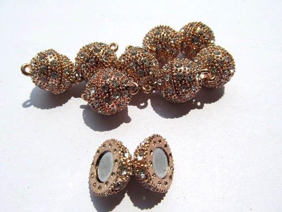 En gros ton Rhinetone cristal magique fermoir connecteurs fermoirs magnétiques boule ronde gunmetal argent rose or bijoux fermoir 50 pcs - 3