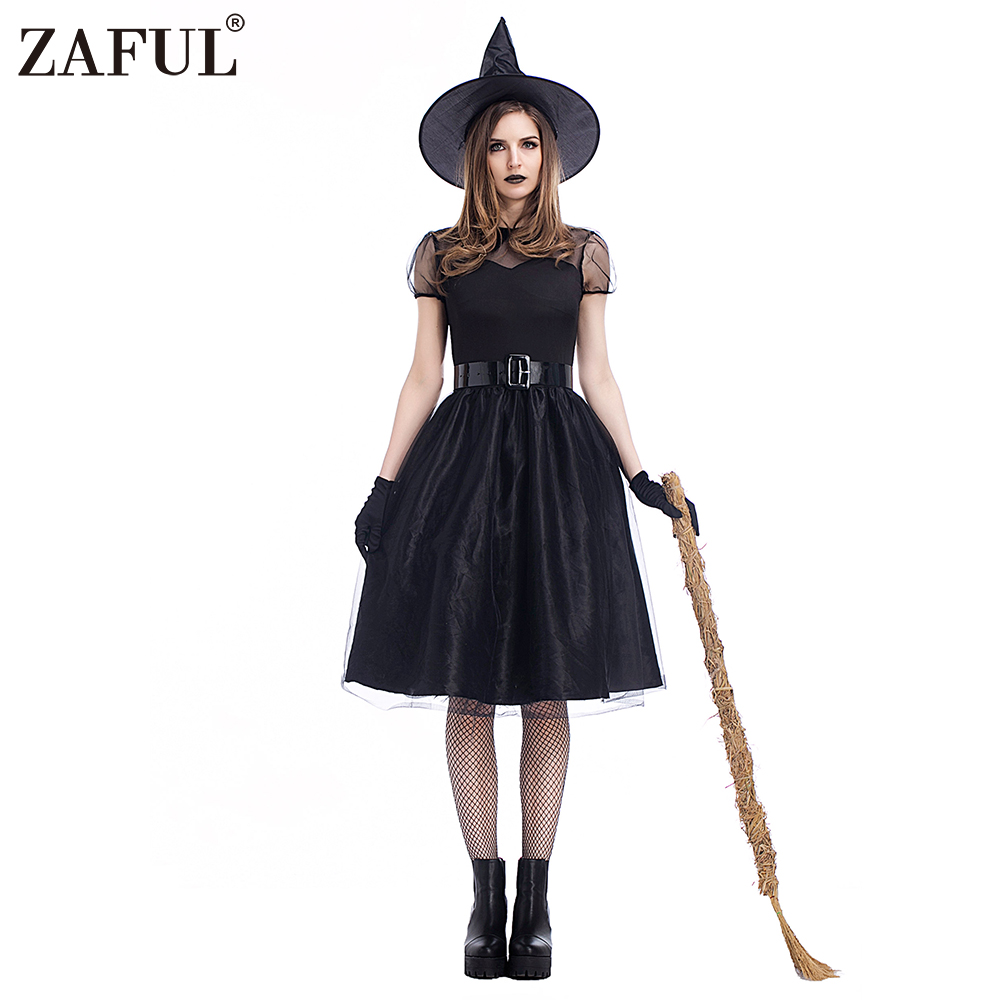 High Quality Girls Adults Halloween Costumes Witch Womens Crape Dress Sexy Black -7980