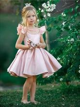 Smileven 花ベルト女の子の誕生日パーティードレスショート女の子特別な日ドレス 2019 サテン