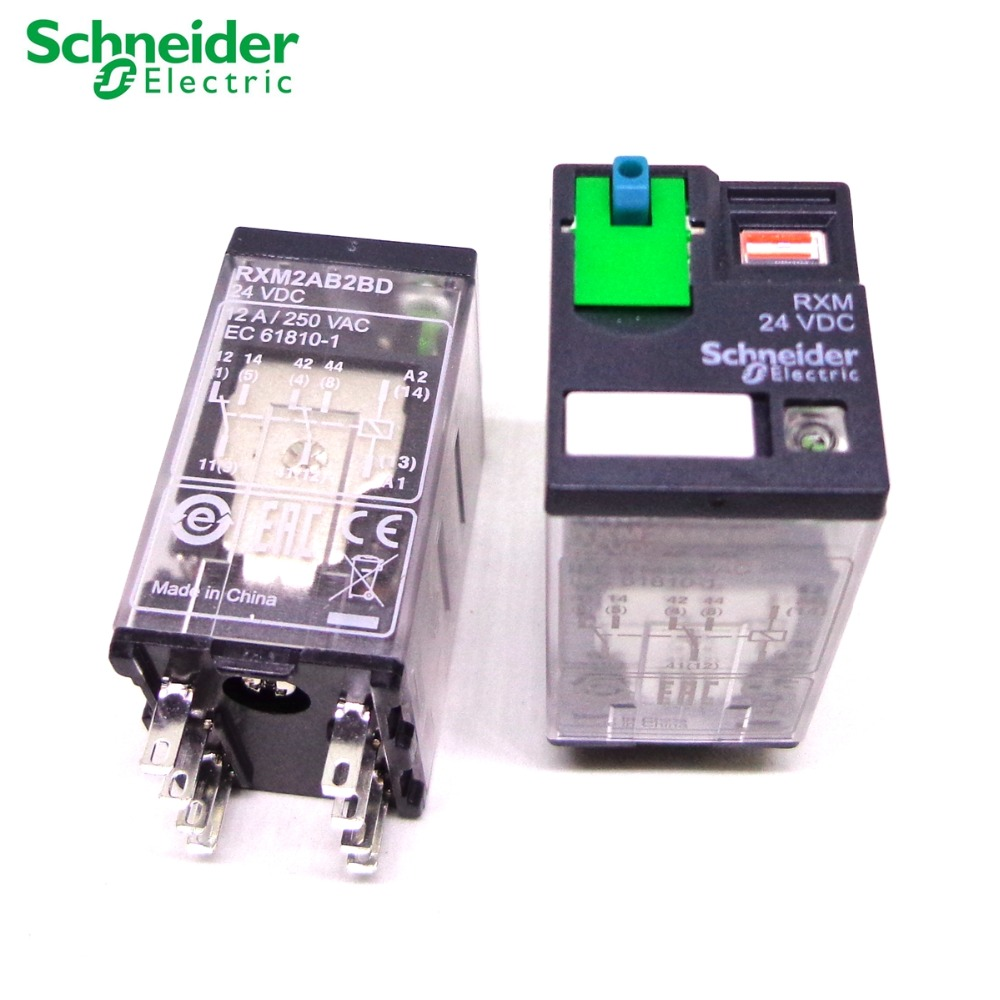 SCHNEIDER ELECTRIC RXM2AB2BD Plug In Relay,8 Pins,Square,24VDC
