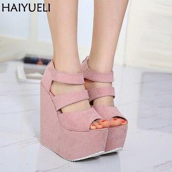 3151ebf435 17 cm tacones altos plataforma cuñas zapatos para mujer moda señoras negro zapatos  de tacón alto