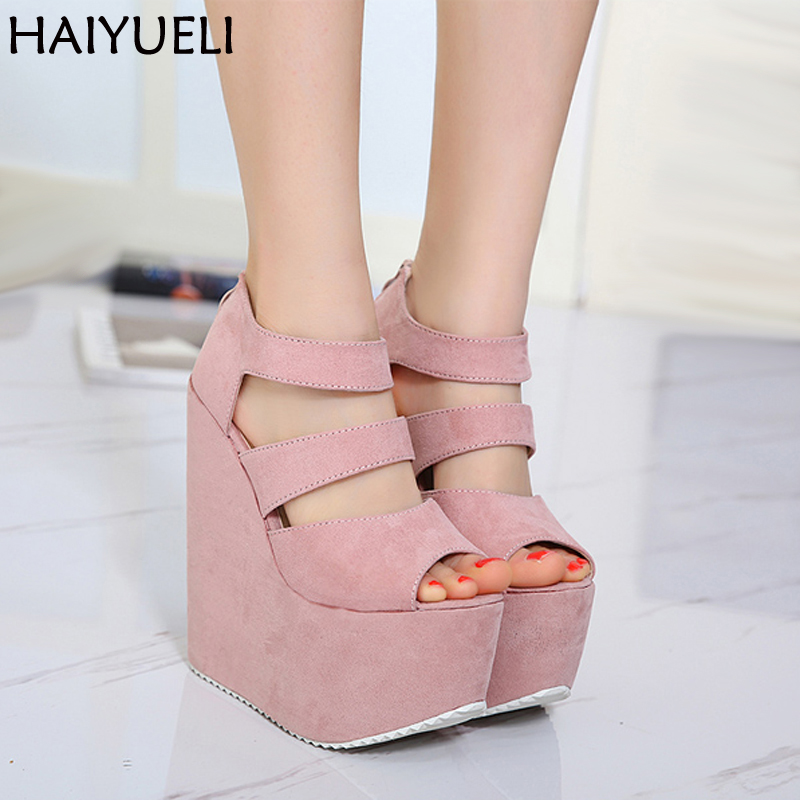 17cm High Heels Platform Wedges Shoes For Women Fashion Ladies Black High Heel Shoes Summer Night Party Ladies High Heel Sandals dalvey запонки dalvey 70001
