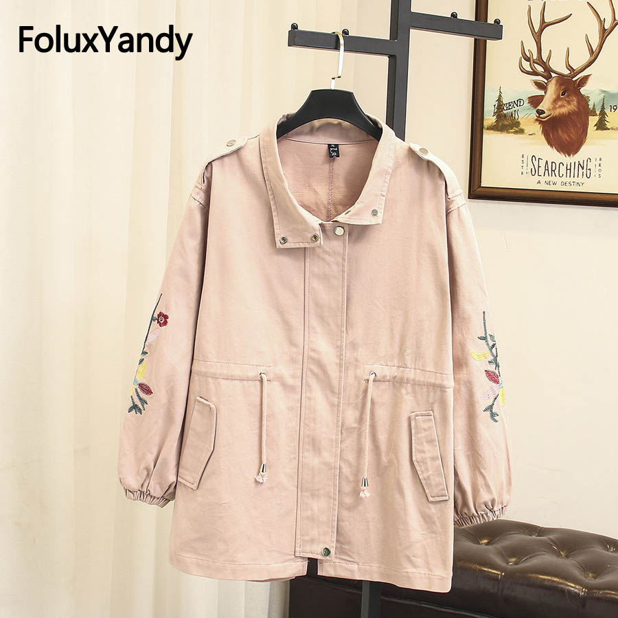 2018 New Autumn   Trench   Coat Plus Size Women Casual Floral Embroidery Loose   Trench   Outerwear SWM1049