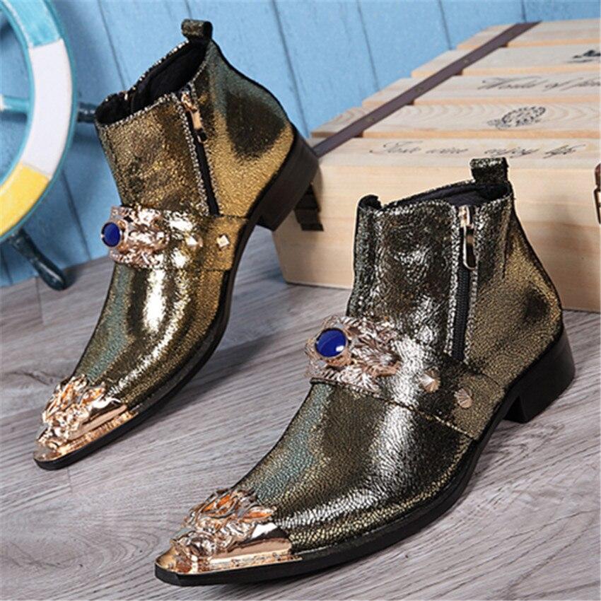 Fashion Gold Men Genuine Leather Shoes Metal Pointed Toe Dress Ankle Boots Vintage Cowboy Martin Boots Botas Hombre Dress Shoes