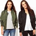 2016 Autumn Winter Women Army Green bomber jacket Vintage Jacket Casual Long Sleeve Zipper Short Outerwear Coat chaquetas mujer