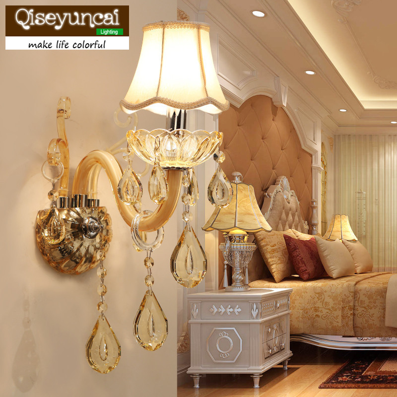 все цены на Qiseyuncai European-style living room wall crystal wall lamp simple corridor aisle luxury atmospheric bedroom bedside lamps онлайн