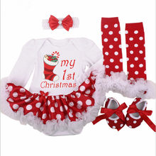 1a3c846079e30b Kerst Baby Kostuums Doek Baby Peuter Meisjes Eerste Kerst Outfits  Pasgeboren Kerst Romper kleding Set verjaardagscadeau