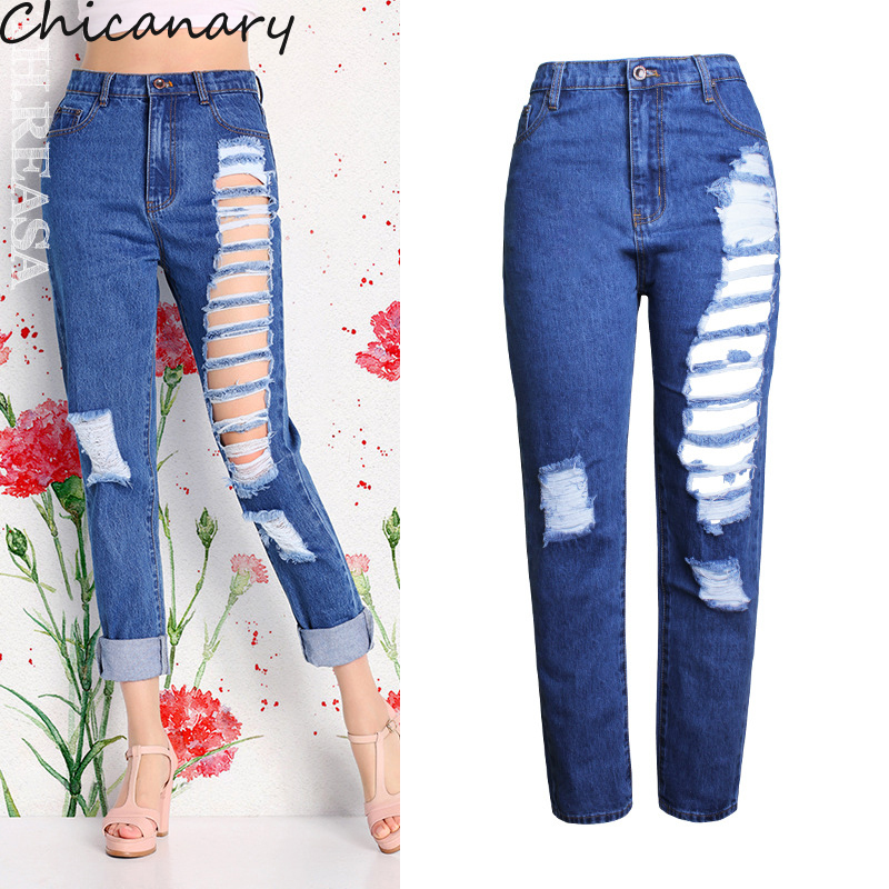 ФОТО Chicanary Ripped Women Cropped Loose Jeans High Rise Distressed Denim Pants Plus Size