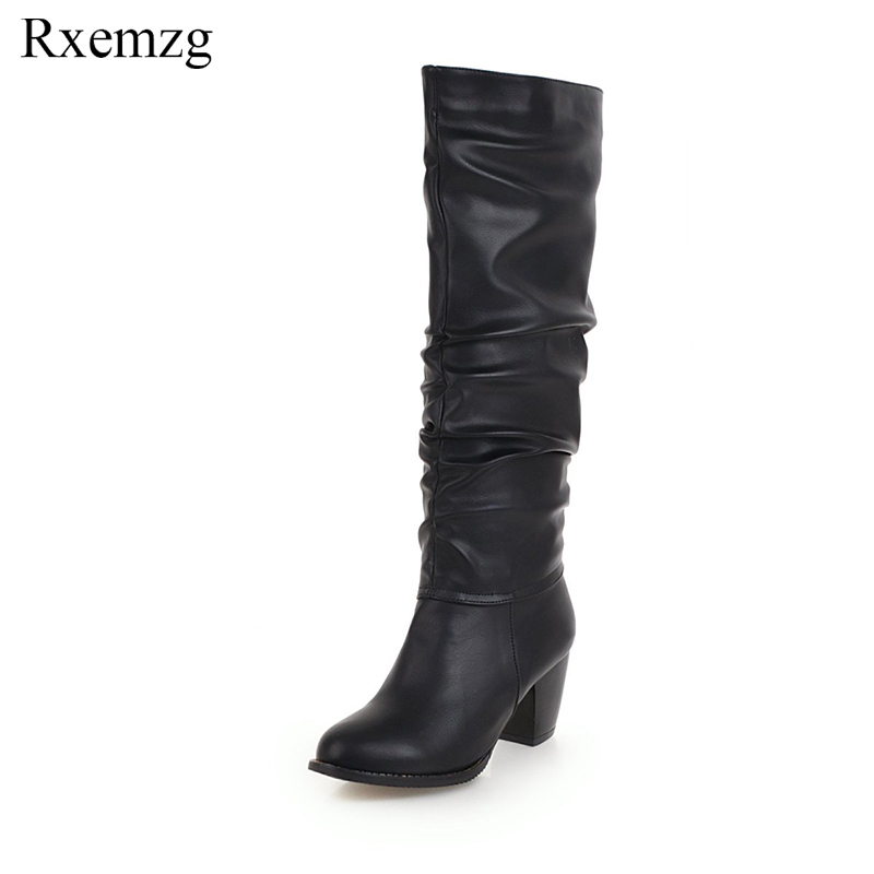Rxemzg plus size 34-48 fashion pleated 2018 autumn new knee high boots women chunky high heel round toe winter boots shoes woman 2017 new women boots square toe fashion knee high boots motorcycle sexy thick high heel boots woman shoes black plus size 34 42