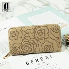 Square Simple Atmosphere Fashion Lady wallet female purse portable small female wallet apric clutch mini Handbag ladies purse PU