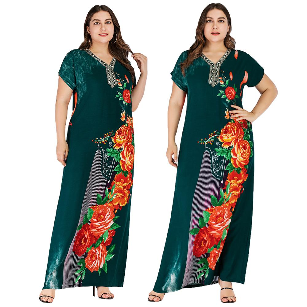 Boho Ethnic Women Short Sleeve Maxi Dress Plus Size Loose Print Floral Dresses Summer V neck Casual Loose Kaftan Dubai Dress New-in Islamic Clothing from Novelty & Special Use
