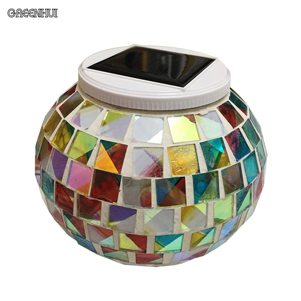 Hot solar light jar Broken glass Mosaic pattern Color Changing Fairy Light Solar Mason jar for Glass Jars Party Christmas Decor 680ml glass storage jar purple