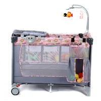 Portable Baby Crib Multi functional Baby Bed With Diapers Changing Table Safe Baby Kids Game Beds