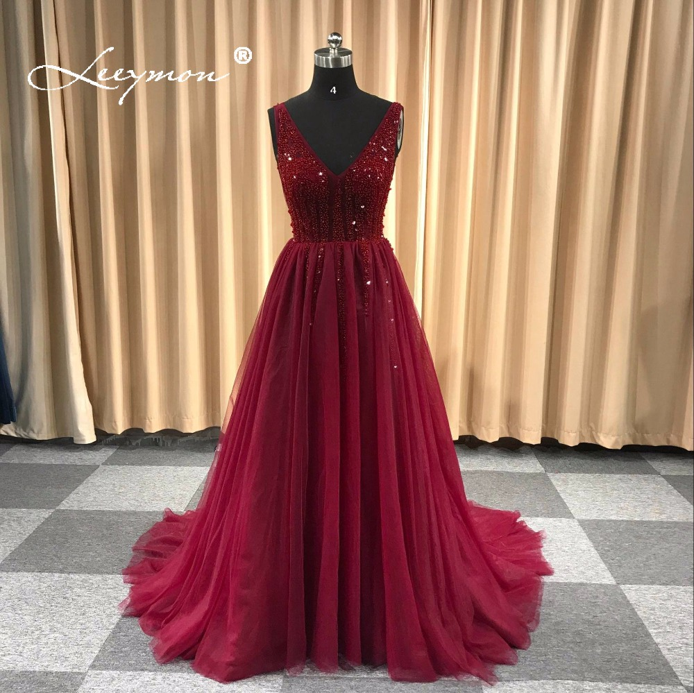 Leeymon Custom Made 2019 Sexy V Neck Sparkly Beading   Evening     Dress   Elegant A-Line See Through High Split Backless Party   Dress