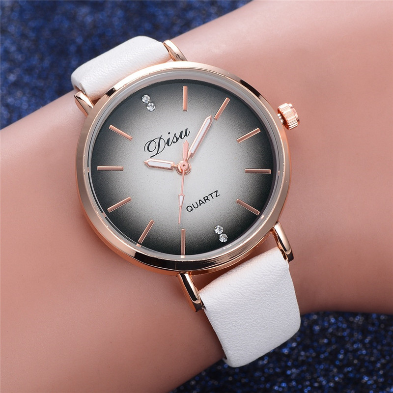 Women Luxury Watches Disu Brand Discolor Dial Dress Sport Quartz Wristwatch Ladies Classic Leather Business Clock Watch Women