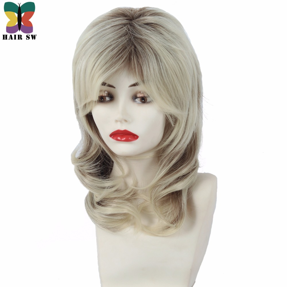 Women Blonde With Dark Root Full Wig Medium Length Cascaded Layers Synthetic Lady Highlights Hairstyle HAIR SW