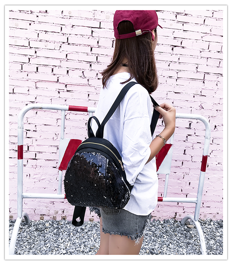 Backpacks women Korean mini 2018 new sequined shell fashion trend women go with small backpacks travel backpack 83