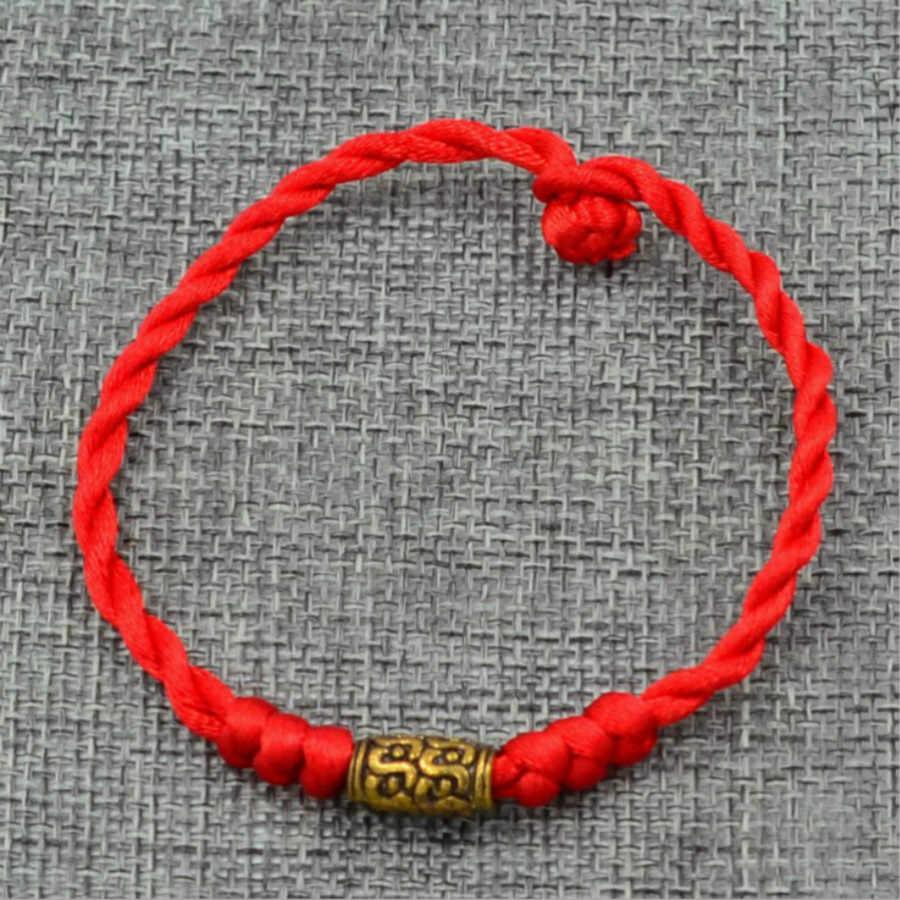 1 Pcs למכור אופנה קסם צמידי חוט אדום מחרוזת צמיד מזל BeadLucky בעבודת יד חבל צמיד לנשים גברים תכשיטים