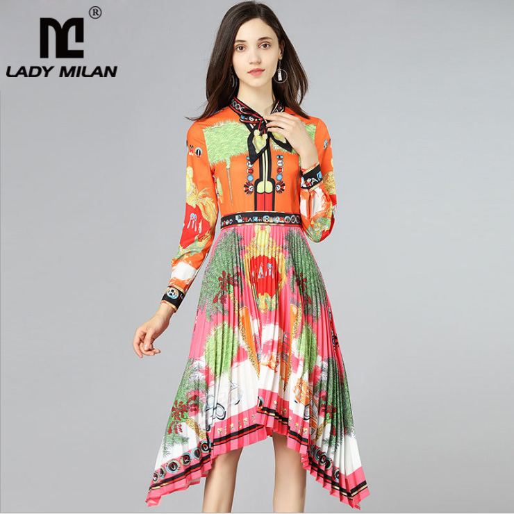 New Arrival 2018 Womens Bow Detailing Printed Pleated Asymmetric Fashion Casual Runway Dresses