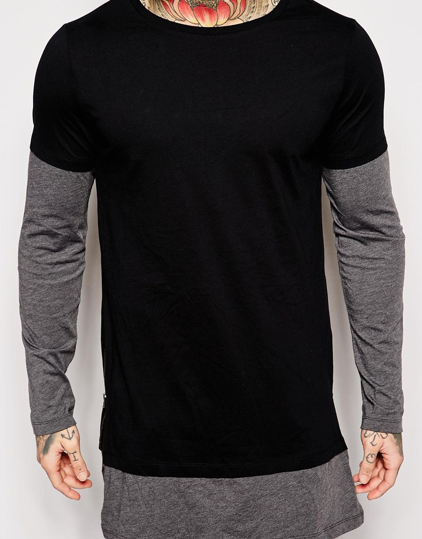 100%cotton Hiphop Tee Shirt Long Sleeve T shirt Side Zipper Tshirt ...