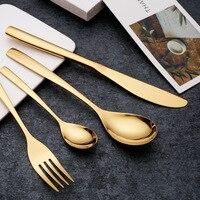 24pcs Titanium Knife Fork Dinnerware Set Gold Stainless Steel Steak Knife Fork Spoon Western Cutlery Sets