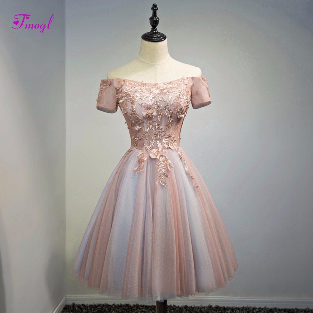 Fmogl Elegant Short Sleeve Lace Up Princess Homecoming Dresses 2019  Appliques Scoop Neck Graduation Dresses Part 95b30a8a6d14