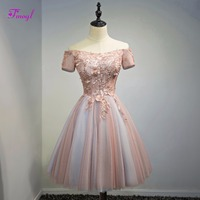 Fmogl Elegant Short Sleeve Lace Up Princess Homecoming Dresses 2018 Appliques Scoop Neck Graduation Dresses Part Gown Hot Sale