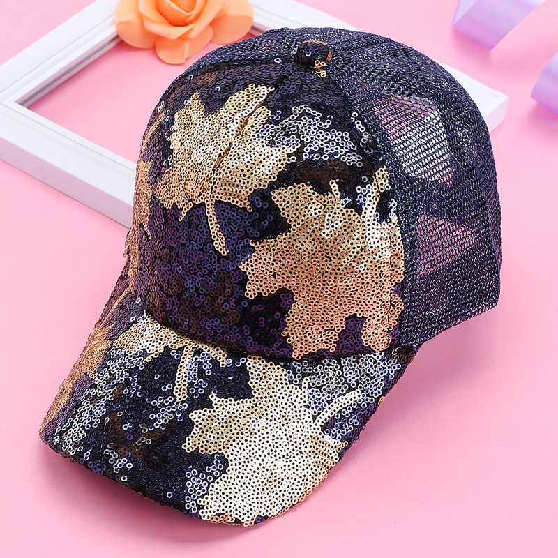 6be30e9ba US $7.09 49% OFF|New Creative Women Bling Shinning Sequin Caps Cute Glitter  Maple Leaf Summer Mesh Baseball Cap Adjustable Sunscreen Ponytail Hat-in ...