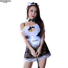 METERNIS perspective Maid lingerie+collar+hand accessories cosplay women sexy lingerie hot lace sexy costume erotic Lingerie 361